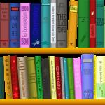 two shelves of random books drawing