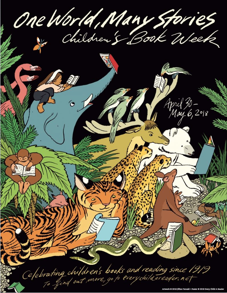 one world many stories with jungle animals children's book week poster