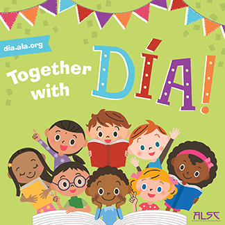 together with dia poster with drawing of a diverse group of children