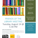 friends of the library meeting announcement for august 14th at 5:30 pm
