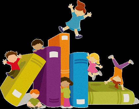 cartoon of kids doing gymnastics on giant books