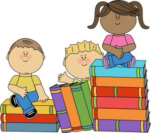 cartoon of children sitting on piles of books