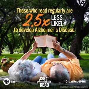 "picture of older couple reading a book with caption ""those who read regularly are 2.5 times less likely to develop alzheimer's disease"