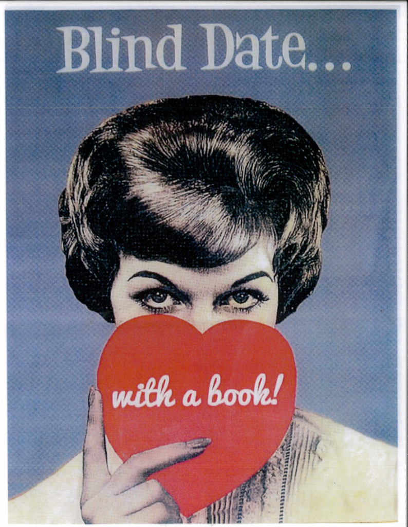 picture of woman holding a heart saying blind date...with a book
