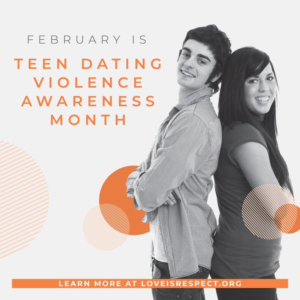 february is teen dating violence awareness month with picture of a young man and young woman standing back to back