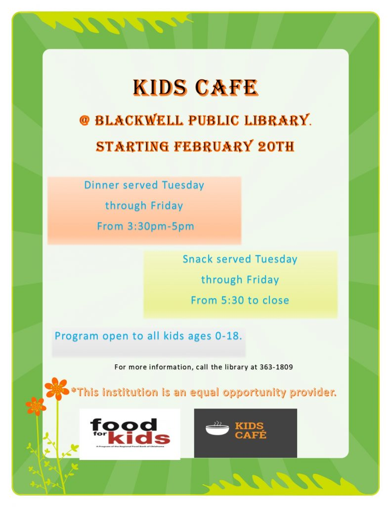 kids cafe at blackwell public library flyer