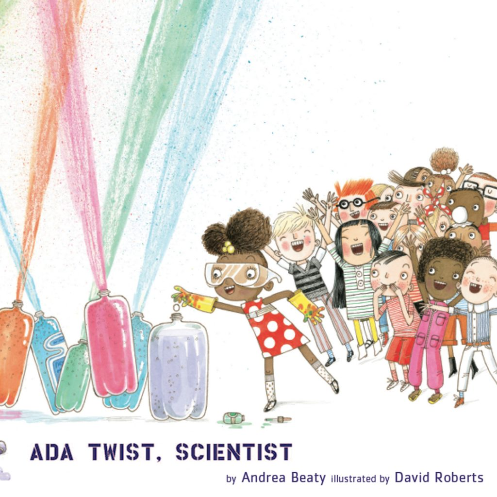 drawing of soda geysers in rainbow colors and a group of children