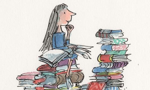 drawing of matilda sitting on a pile of books