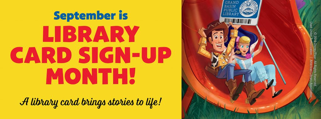 september is library card sign up month. woody and bo-peep from toy story movie