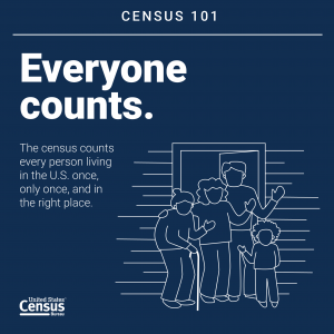 census 101 everyone counts with drawing of a family