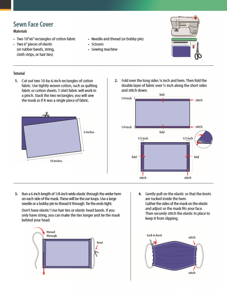 instruction for a sewn face cover