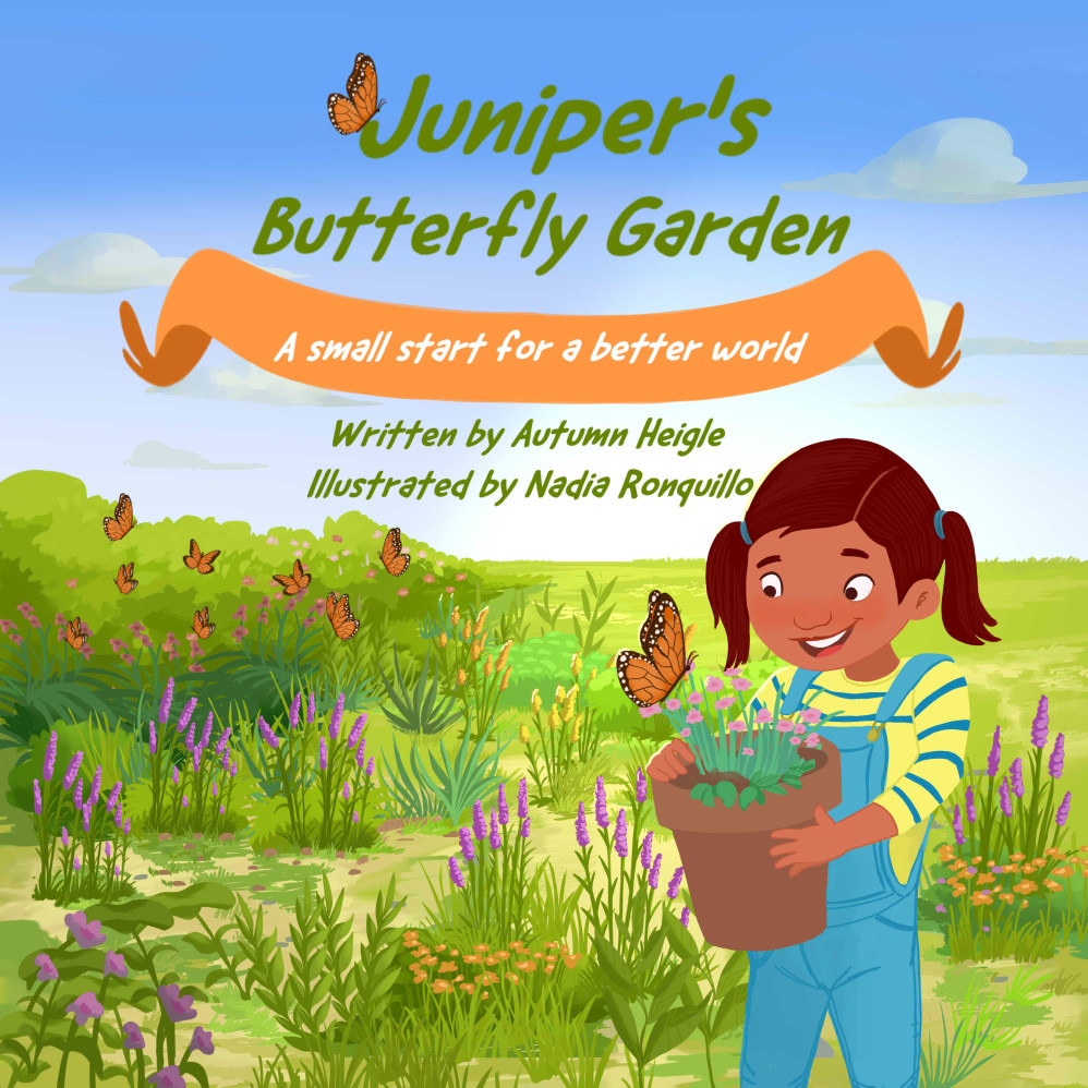drawing of a girl holding a potted plan with a butterfly flying near