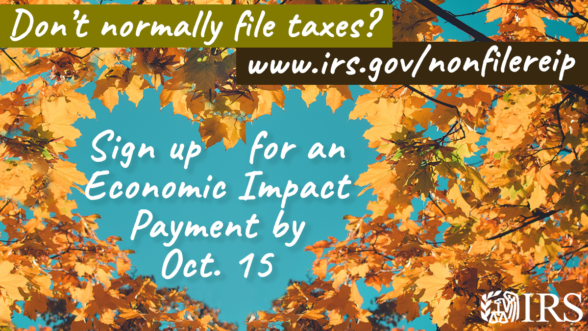 sign up for economic impact payment by october 15 for non filers. picture of autumn leaves