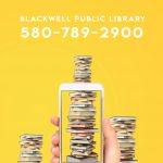 dial a story. blackwell public library. 5807892900. image of hand holding a cell phone taking picture of stacks of books