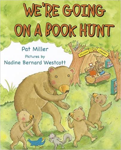 we;re going on a book hung by pat miller. book cover with bears and trees.