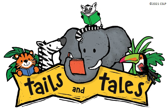 drawing of lion, zebra, elephant, toucan, and meerkat with banner reading Tails and Tales