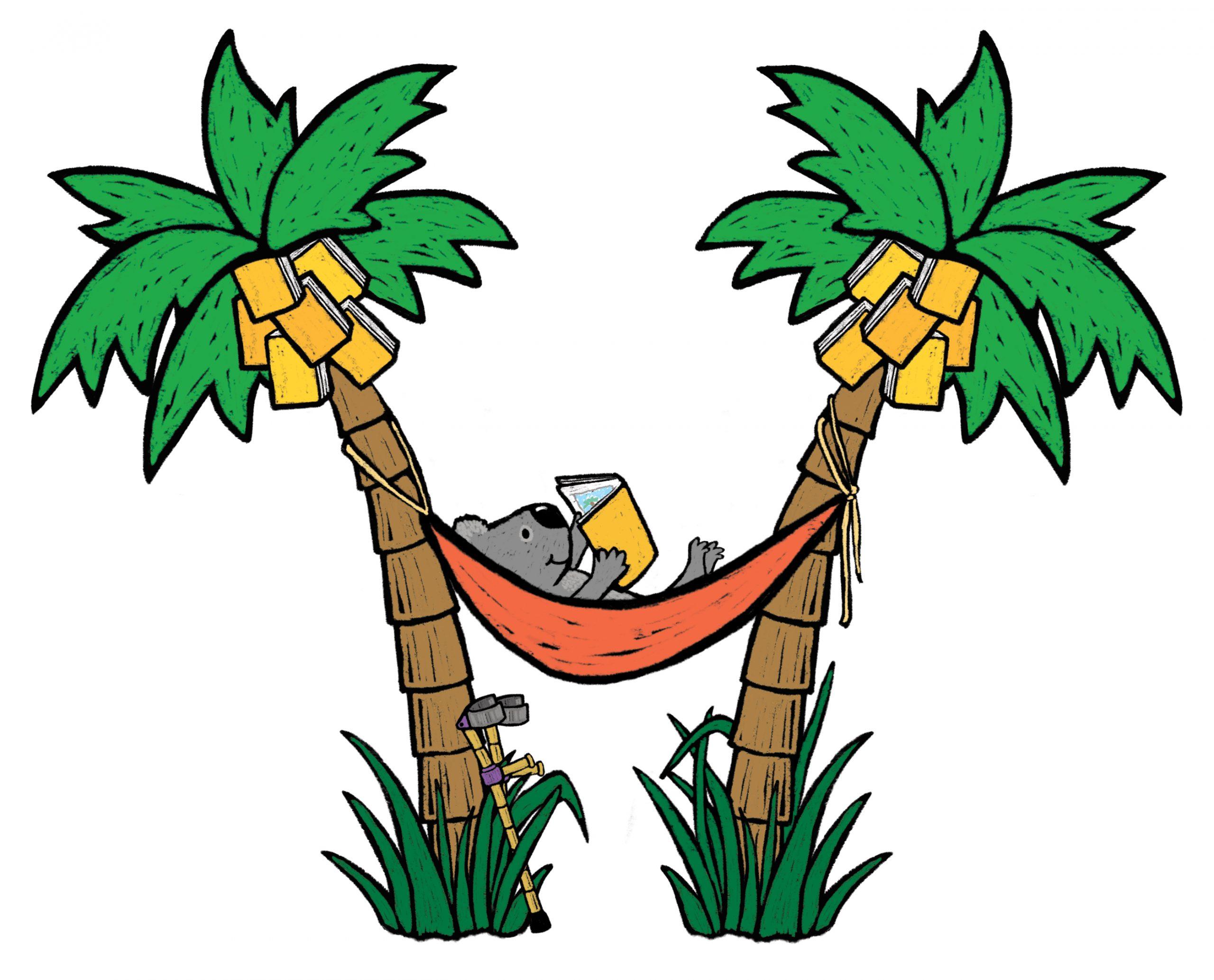 koala in a hammock between two palm trees